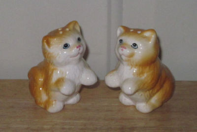 Set of Orange and White Porcelain Cats Salt and Pepper Shakers, 3 inches Tall