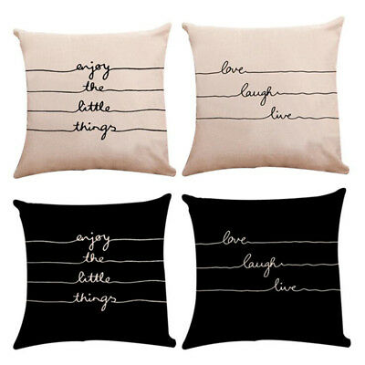 Enjoy The Little Things Letter Print Pillow Cushion Cover Home Decor Pillowcase