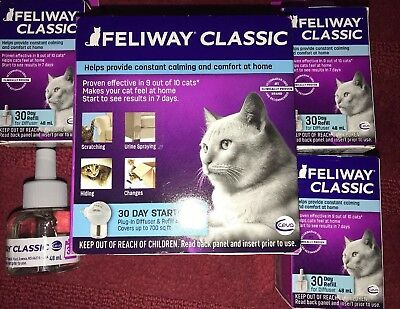 CEVA Feliway Classic Comfort Diffuser Kit w/3 30 day refills for Cats And Kitten