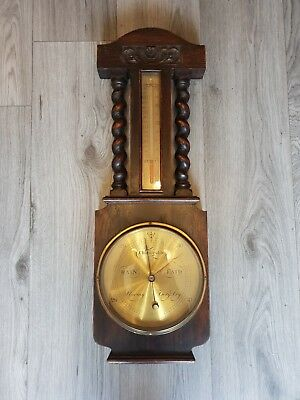 Antique Aitchison London Solid Oak Aneroid Barometer Thermometer (Brass Face)