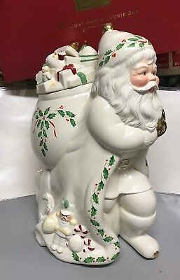 """Large Vintage Lenox Holiday Santa Collection Cookie Jar NOS 13 1/2"""" Tall w/Box"""