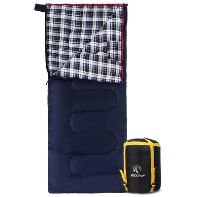 Cotton Flannel Sleeping Bags Camping Cot Warm Compressed Sack Envelope Blue 2lbs