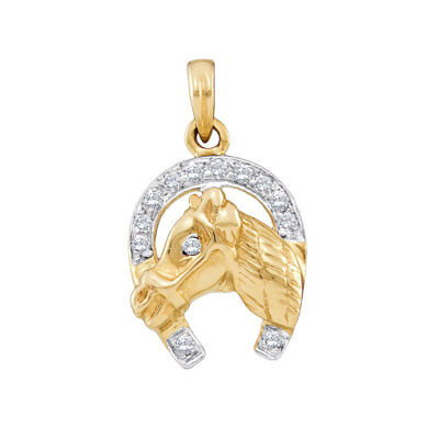 Real 10k Yellow Gold Horse Shoe Lucky Natural Diamonds Charm Pendant Unisex