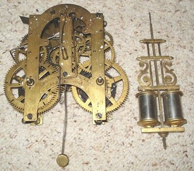 Ansonia Time & Strike Kitchen Or Parlor Clock Movement For Parts Or Repair