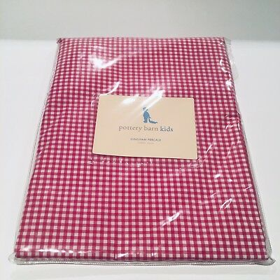 NEW POTTERY BARN KIDS Red Pink Raspberry Gingham Crib Duvet - Skirt/Sheet Avail!