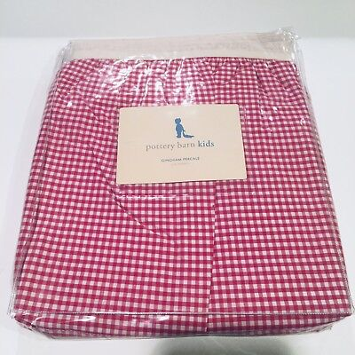 NEW POTTERY BARN KIDS Red Pink Raspberry Gingham Crib Skirt - Duvet/Sheet Avail!