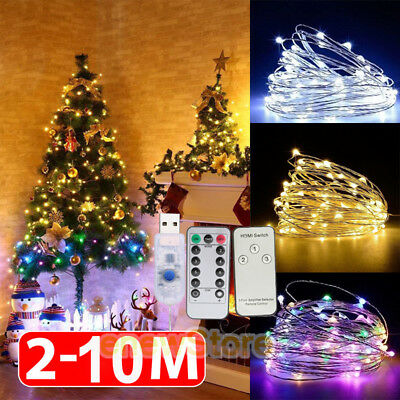 2-10M LED String Fairy Lights USB/Battery Powered Copper Wire Xmas Decorations