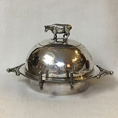 Atkinson Silver Quadruple Plate Butter Dish Server ~ Cow Finial, Pierced Liner