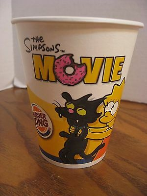 Burger King - The Simpsons Movie - Lisa w/ Cat 12 oz. Paper Cup - New - 2007