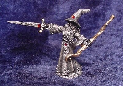 Pewter WIZARD with Sword, Staff and Red Crystals