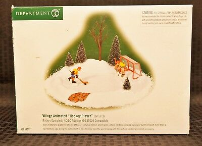 Department 56 Village Animated Hockey Player & Goalie in Net  #56-52512 AS-IS