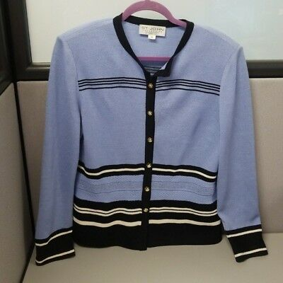 St. John Collection by Marie Gray Jacket Cardigan Blazer Size 10 Blue Black