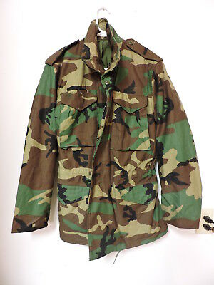 61b001b192a0b U.S. Army Small Long Jacket Woodland Field Camo Cold Weather Coat with hood