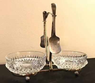 Antique Double Condiment Server Silverplate Jelly Jam w Hanging Spoons England
