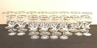 28 Antique Gold Rim Crystal Glasses Wine Champagne Cordial Liqueur Sherry Brandy