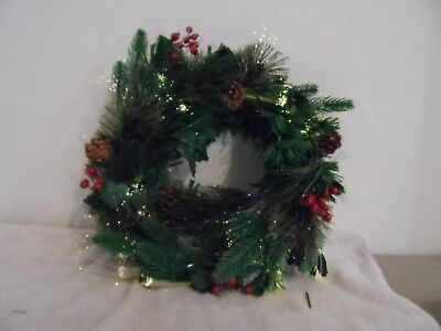 New - 18 Inch Fiber Optic Holiday Pine Wreath With Timer