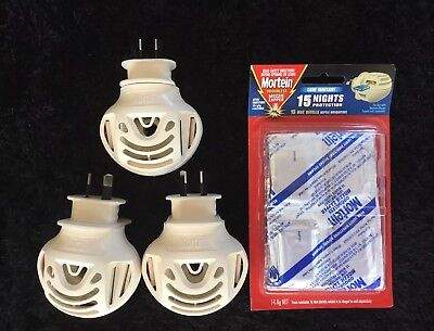 3 x MORTEIN MOZZIE ZAPPER PLUG IN'S + PACK OF 15 ODOURLESS PADS NEW.