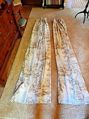 Pre Owned Pair 2 Custom Linen Toile Drapes, Lined In Excellent Condition.