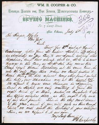 1870 New Orleans - Singer Mfg Co Wm E Cooper & Co Sewing Machines Letter Head