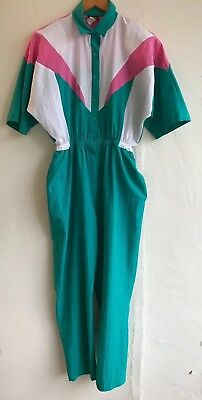 Vintage Lori of California Women's Jumpsuit One Piece 80's Size 8 Turquoise Pink