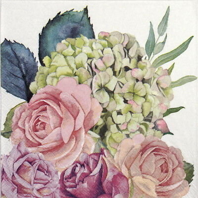 4x Paper Napkins for Party, Decoupage Craft Rose garden