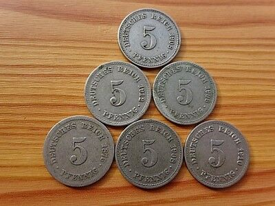 Lot 6 Coins Germany Empire - Deutsches Reich 5 Pfennig 1876-1912 Copper-Nickel.