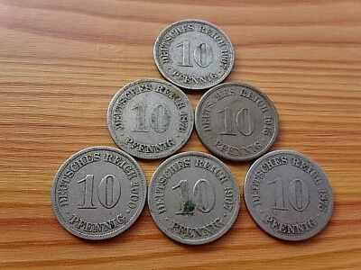 Lot 6 Coins Germany Empire - Deutsches Reich 10 Pfennig 1875-1916 Copper-Nickel.