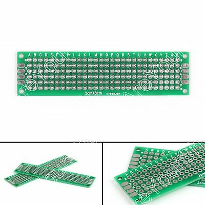 20x Double Side 2x8cm Prototype PCB Board Universal Printed Circuit Board 1.6mm