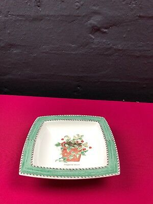 "Wedgwood Sarah's Garden Square 5.75"" Square Bowl / Dish Fragaria Vesca Green"
