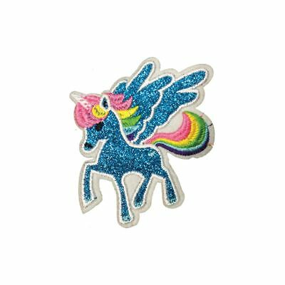 Blue Glitter Unicorn (Iron On) Embroidery Applique Patch Sew Iron Badge