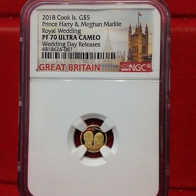 2018 Cook Islands 1/100 oz Gold Royal Wedding: Harry and Meghan - NGC PF70 Ultra