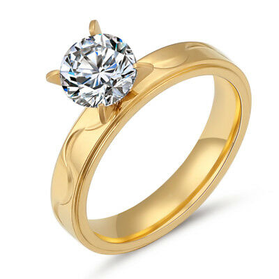 Women Stainless Steel Wedding Engagement Band Rings Cubic Zirconia Gold Plated
