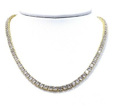 4Mm 26Ct Diamond Tennis Chain Vvs1 Crystals Best Quality 14Kt Real Gold Finish