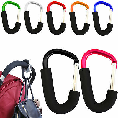 2 x BUGGY CLIPS LARGE PRAM PUSHCHAIR SHOPPING BAG HOOK MUMMY CARRY CLIP STRONG