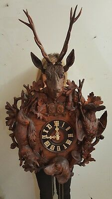 Beautiful antique black forest cuckoo quail clock from Germany