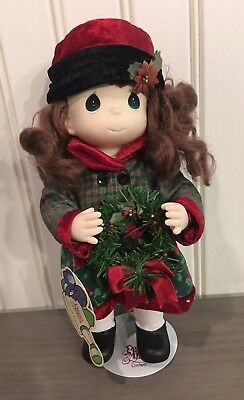 "Precious Moments Christmas Holiday Collectible Doll ""Holly December"" with Stand"