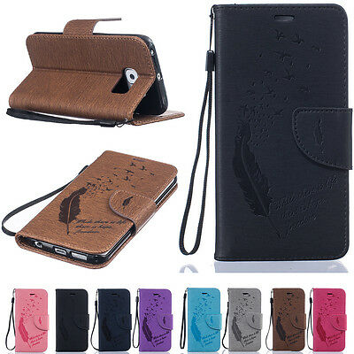 Lanyard PU Leather Magnetic Flip Stand Card Slot Wallet Case Cover For Samsung