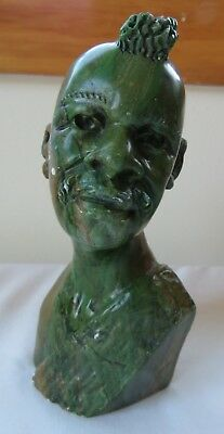 Green Verdite Carved Bust of African Tribal Chief or Warrior Nice Varying Colors