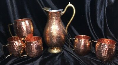 Vtg Traditional Indian Solid Copper Hammered Pitcher & 5 Mugs Cups Brass Handles