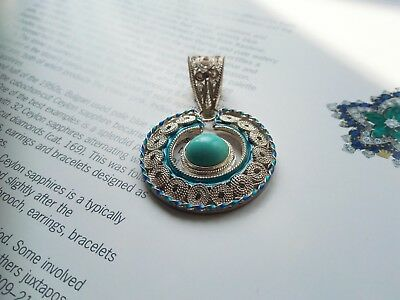 Chinese silver inlaid filigree enamel natural turquoise cabocon pendant