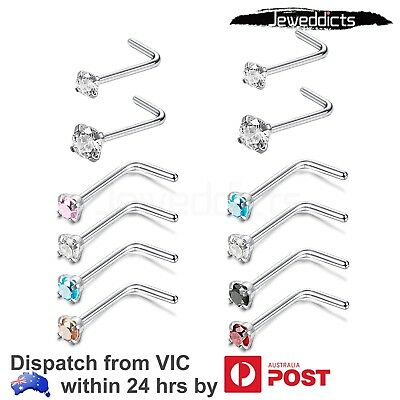 2-6pcs L Shaped Nose Ring Stud 20 Gauge Curved Bend Bar Piercing Body Jewellery