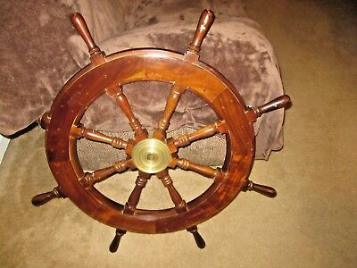 """VINTAGE LARGE 36"""" BOAT SHIP STEERING WHEEL BRASS CENTER NAUTICAL Localpickonly"""