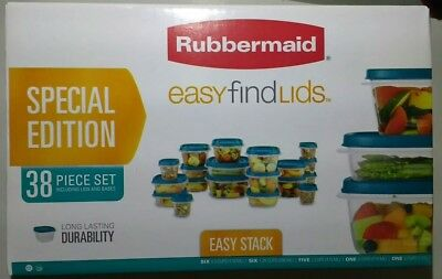 NEW Rubbermaid Easy Find Lids Food Storage Containers 38 Pc Set Teal/Blue/Green