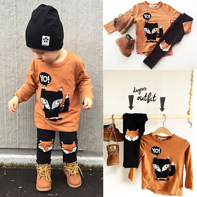USA Toddler Kids Baby Boy Animal Print Top Shirt Long Pants Outfits Sets Clothes
