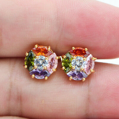 18K Yellow Gold Filled Round Rainbow Zircon Topaz Stud Earrings for Women Girls