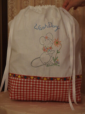 """LAUNDRY BAG made VTG Pillowcase Hand Embroidered w/ """"Cute Frenchy Mouse"""",  NEW"""