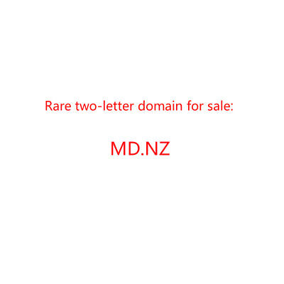 Two-letter .nz New Zealand domain name for sale - md.nz - VERY RARE!