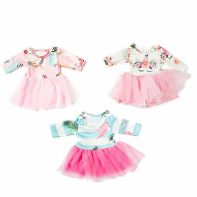 Doll Clothes Unicorn Tulle Dress 18 inch Girl Dolls Floral Print Dresses