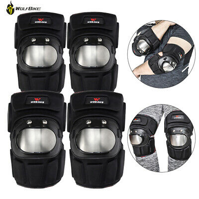 Adult Motorcycle Knee Elbow Pads Set Guard Stainless Steel Sport Protective Gear