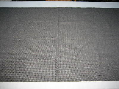 "NOS Vintage Med Weight Wool Fabric Off White, Dark Gray, Dark Rust - 52"" X 58"""